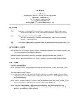 Curriculum Vitae - Department of Geography