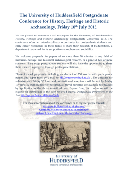 The University of Huddersfield Postgraduate Conference for History