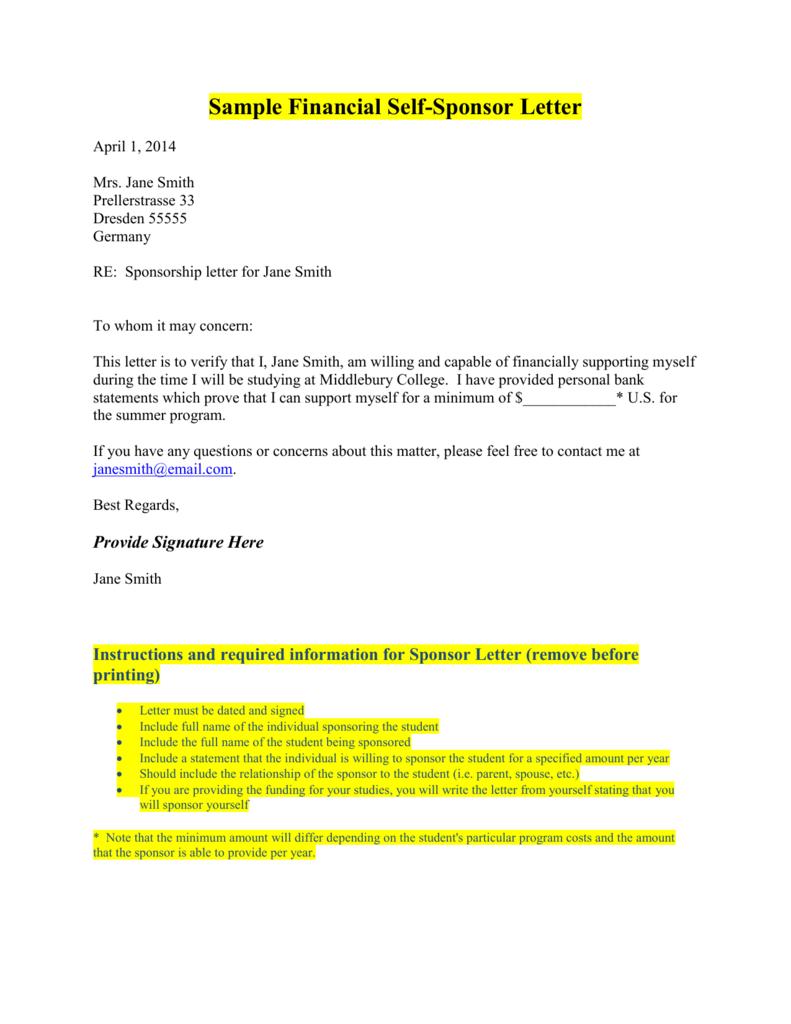 sponsorship letter sample for student visa