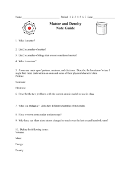 Matter and Density Note Guide