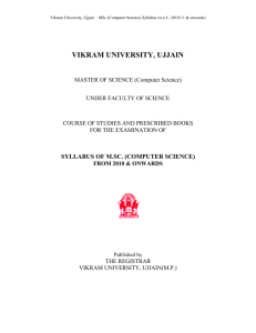 Vikram University, Ujjain * MSc (Computer Science) Syllabus (w.e.f.