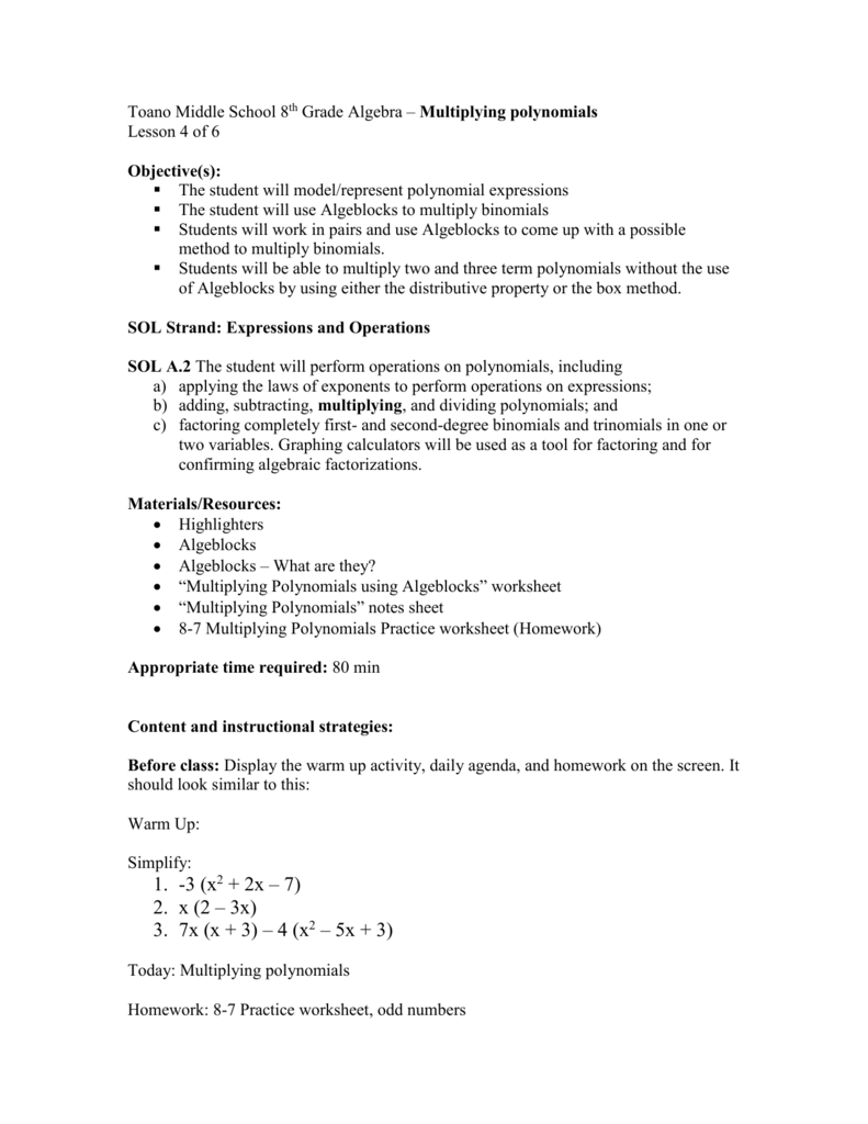 Multiplying Polynomials LP lesson 4 – Multiply Binomials Worksheet
