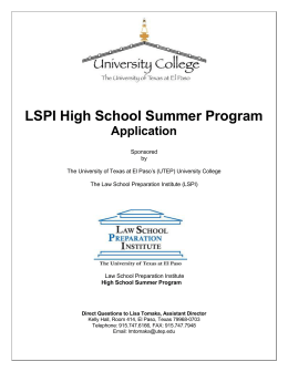 LSPI High School Summer Program Application