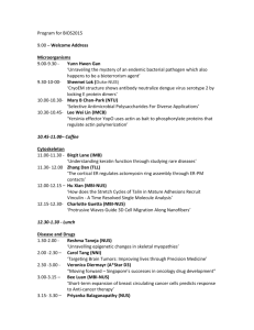 Program for BIOS2015 9.00 – Welcome Address Microorganisms