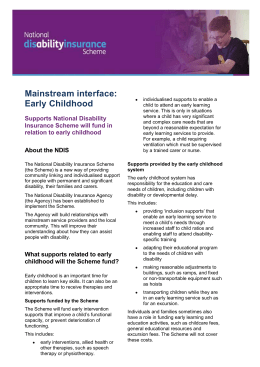 Fact sheet: Supports the NDIS will fund in relation to early childhood