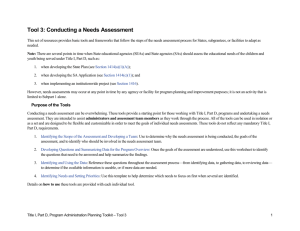 Tool 3: Conducting a Needs Assessment