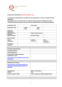 Programme Specification Template (updated November 2015)
