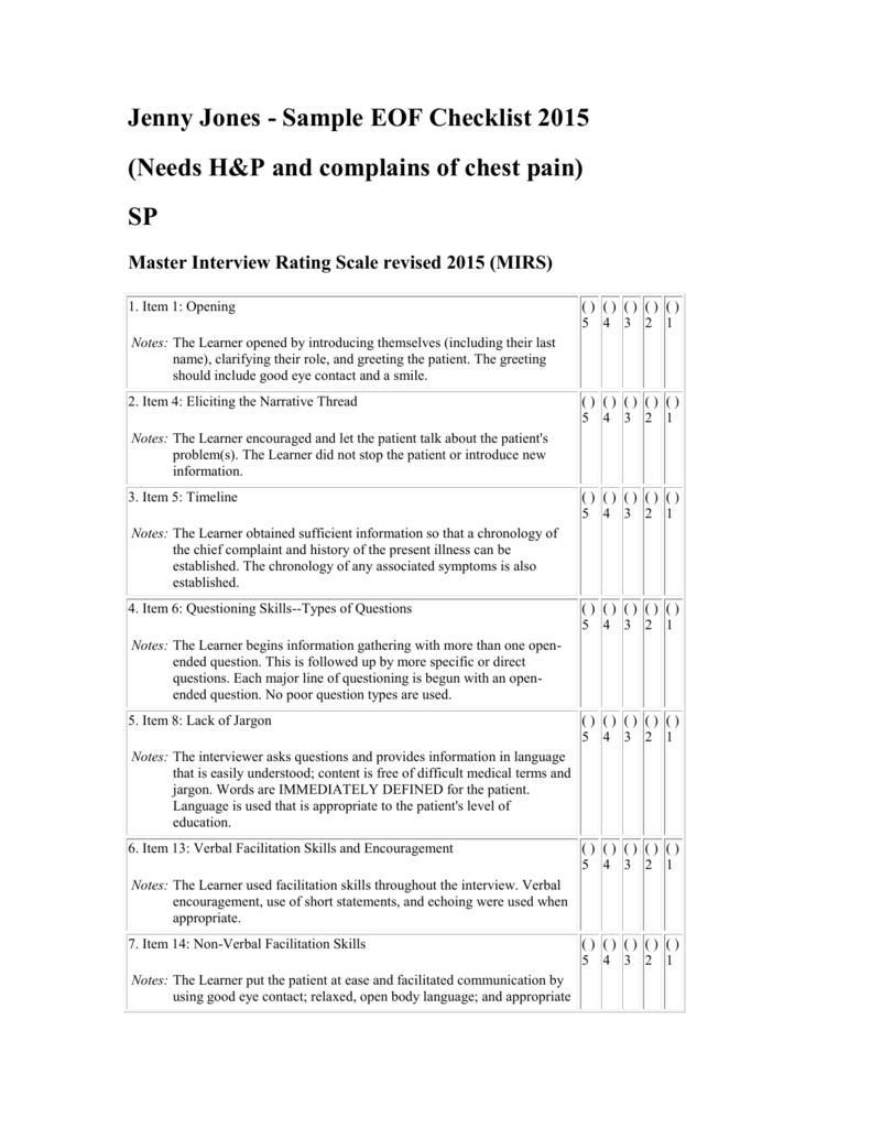 Sample Case Checklist Jenny Jones