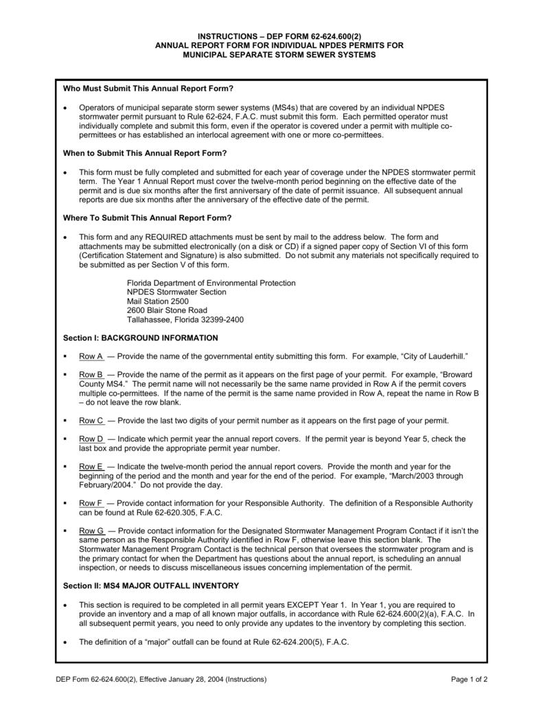 INSTRUCTIONS * DEP FORM 62-624