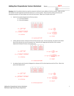 Adding Non-Perpendicular Vectors Worksheet