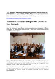 Internationalization Strategies: Old Questions, New Contexts