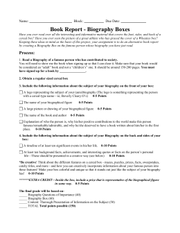 biography book report grade 5 Seventh grade biography/autobiography book report requirements for the report in the genre of nonfiction, you will read a biography or autobiography of the.