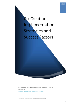 Co-Creation: Implementation Strategies and Success