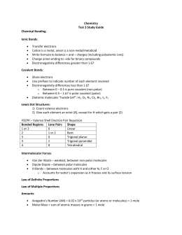 9 - Chemistry Test 3 Study Guide REVISED - Chemistry