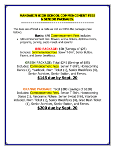 mandarin high school commencement fees & senior packages.