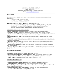 RESUME for JEANNE F. GODFROY