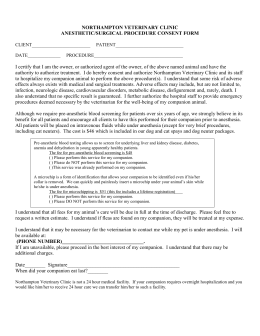 anesthetic/surgical procedure consent form