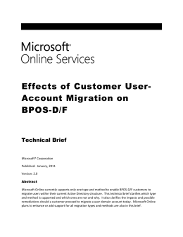 Tech Brief - Effects of Customer User Account Migration