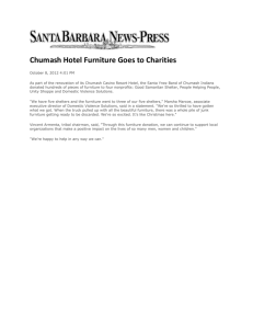 Chumash Hotel Furniture Goes to Charities