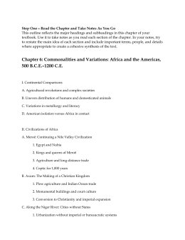 Commonalities and Variations - Africa and the Americas