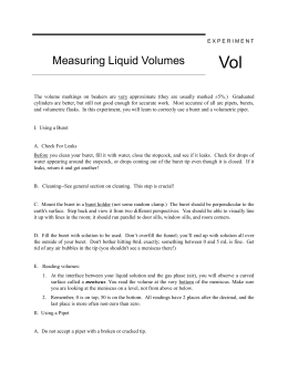 E X P E R I M E N T Measuring Liquid Volumes Vol The volume