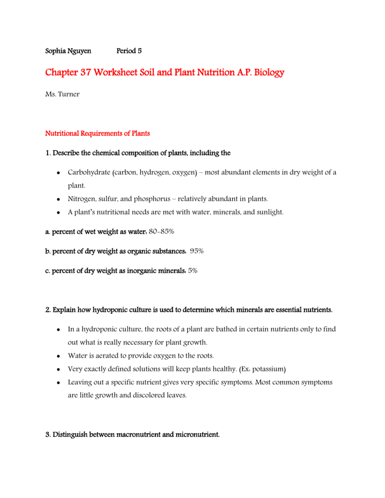 worksheet Soil Horizons Worksheet chapter 37 worksheet soil and plant nutrition ap