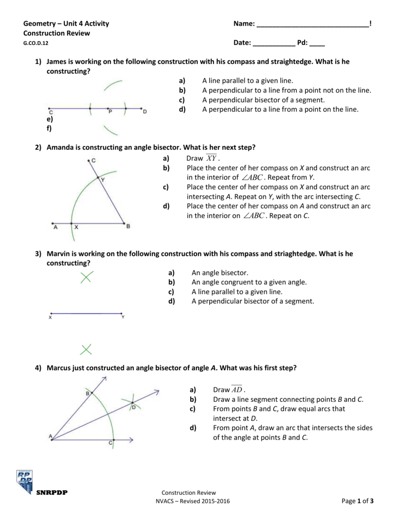 worksheet Perpendicular And Angle Bisectors Worksheet geometry unit 4 activity name construction review g co d 12