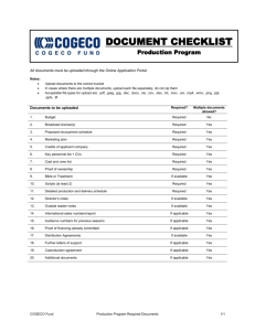 Production Program Document Checklist