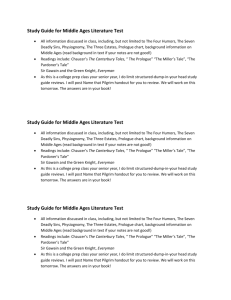 Study Guide for Middle Ages Literature Test