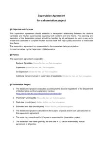 Supervision Agreement for a dissertation project