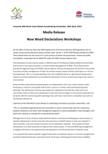 Mid North Coast Weed Committee media release