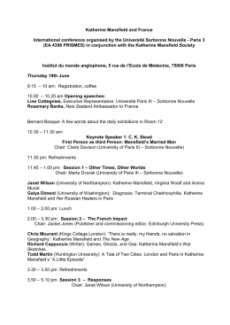 Conference Programme - Katherine Mansfield Society