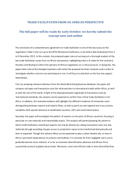 trade facilitation from an african perspective * paper concept note