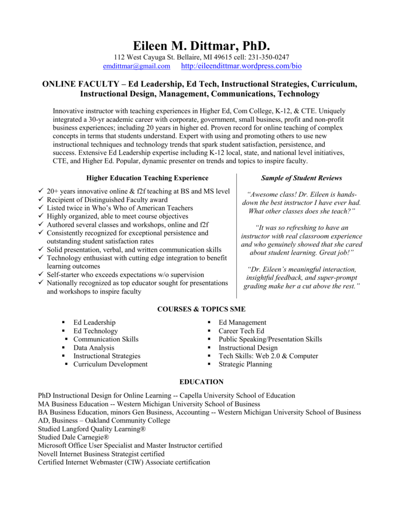 Eileen Dittmar Phd Cv Business