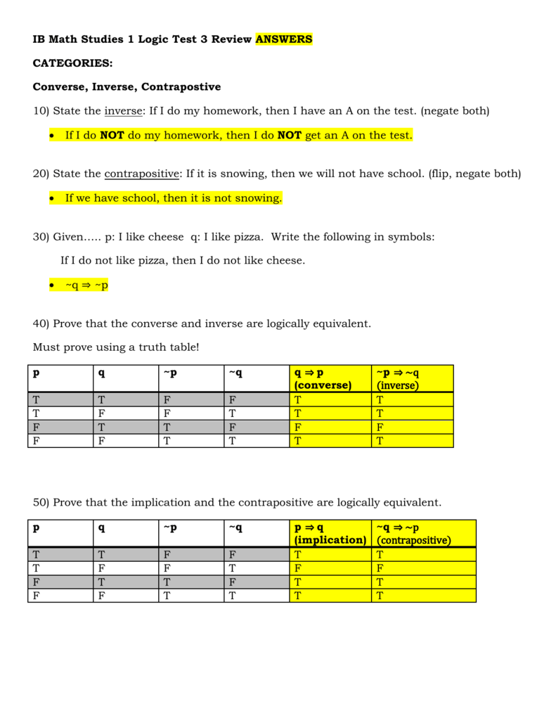 Logic Test 3 Review Answers