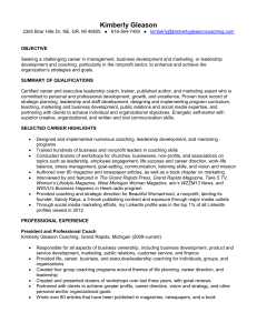 Kimberly Gleason Coaching/Kimberly Gleason/Resume