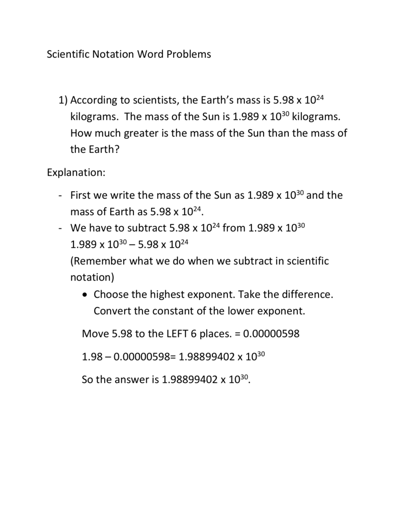 Scientific Notation word problem notes