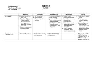 Oceanography Agenda WEEK 7