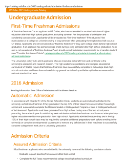 Undergraduate Admission - The University of Texas at Dallas