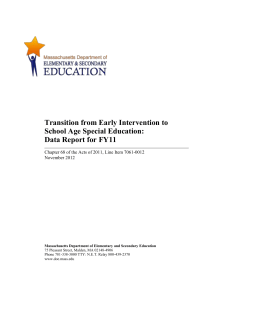 Transition from Early Intervention to School Age Special Education