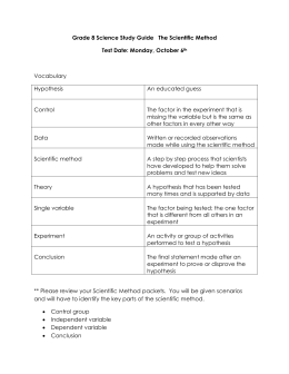 Grade 8 Science Study Guide The Scientific Method Test Date