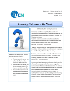 Learning Outcomes Tip Sheet 2015