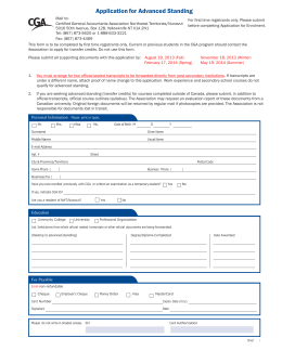 2013-2014 Application for Advanced Standing - Cga-nwt