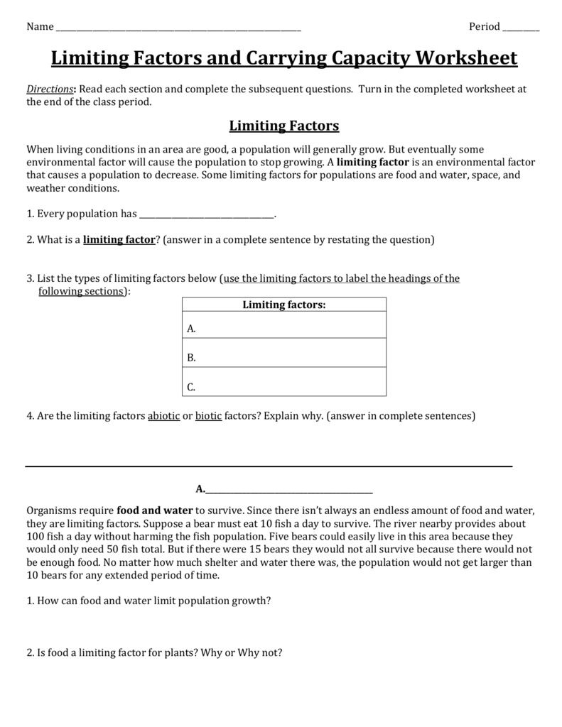 Limiting Factors And Carrying Capacity Worksheet