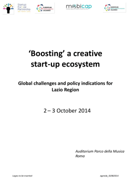 `Boosting` a creative start-up ecosystem Global