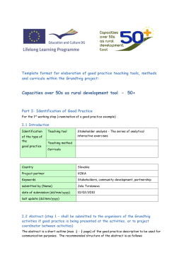 Template format for elaboration of good practice teaching