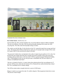 GENeco Commuter bus runs on human waste By Corinne Iozzio