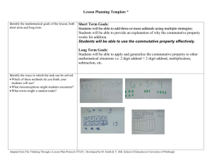 Identify the mathematical goals of the lesson, both short term and