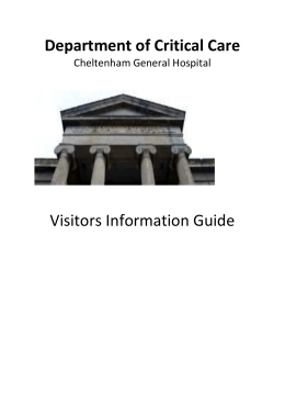 A visitors guide to Critical Care at Cheltenham General Hospital