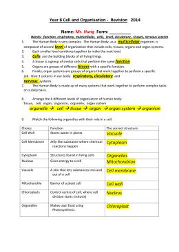 Levels of Organization. Answers
